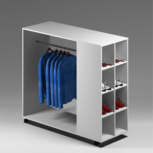 Стеллаж для одежды СО 04 цвет Белый 135х53х123 см  - купить недорого в интернет-магазине торговое оборудование, с гарантией и доставкой по Москве и области.